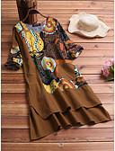 olcso Női ruhák-Női Vintage Kínai Egyenes Ruha - Kollázs Nyomtatott, Egyszínű Virágos Térd feletti