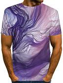 billiga T-shirts och brottarlinnen till herrar-Tryck, Färgblock / 3D / Grafisk Nattklubb EU / US-storlek T-shirt - Streetchic / drivna Herr Rund hals Purpur / Kortärmad