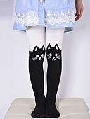 baratos Calças & Leggings para Meninas-Yiwu pby_02vm meia-calça infantil dos desenhos animados bordado costura meia-calça de algodão menina leggings s [altura 80-100cm] _big rosto gato em cinza