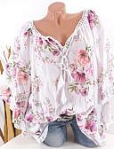 זול סרבלים ואוברולים לנשים-גיאומטרי צווארון V משוחרר חולצה - בגדי ריקוד נשים לבן