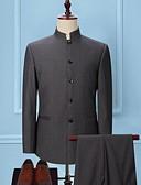 ราคาถูก เบลเซอร์ &สูทผู้ชาย-สำหรับผู้ชาย ขนาดพิเศษ ชุด, สีพื้น คอแสตนด์ เส้นใยสังเคราะห์ สีดำ / เทาเข้ม / สีน้ำเงินกรมท่า / เพรียวบาง