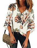 billige Bluser-Bomull V-hals Skjorte Dame - Blomstret, Lapper Gatemote Hvit