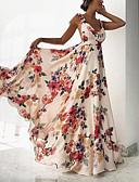 ราคาถูก ชุดเดรสพิมพ์ลาย-สำหรับผู้หญิง ชายหาด โบโฮ สวิง แต่งตัว - ลายพิมพ์, ลายดอกไม้ ขนาดใหญ่ เอวสูง คอวีลึก