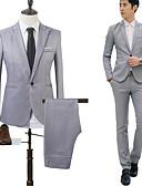 billige Dresser-Svart / Hvit / Himmelblå Ensfarget Skreddersydd Bomull Dress - Med hakk Enkelt Brystet Enn-knapp / drakter