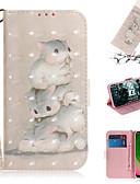 baratos Cases & Capas-Capinha Para Motorola Moto G7 / Moto G7 Plus / Moto G7 Play Carteira / Porta-Cartão / Com Suporte Capa Proteção Completa Animal / Desenhos 3D PU Leather