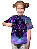billige T-skjorter og singleter til herrer-Barn Baby Jente Aktiv Grunnleggende Tiger Geometrisk Trykt mønster 3D Trykt mønster Kortermet T-skjorte Lilla / Dyr