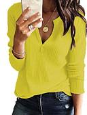 povoljno Ženski džemperi-Žene Jednobojni Dugih rukava Pullover, V izrez Sive boje / Bijela / Lila-roza XXXL / XXXXL / XXXXXL