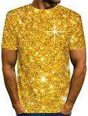 ราคาถูก เสื้อยืดและเสื้อกล้ามผู้ชาย-สำหรับผู้ชาย ขนาดของยุโรป / อเมริกา เสื้อเชิร์ต Street Chic / ที่พูดเกินจริง คลับ ลายพิมพ์ คอกลม ลายบล็อคสี / 3D / กราฟฟิค สีทอง / แขนสั้น