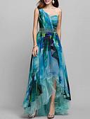 olcso Női ruhák-Női Elegáns Swing Ruha - Nyomtatott, Mértani Aszimmetrikus Félvállas