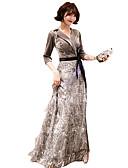 Χαμηλού Κόστους Βραδινά Φορέματα-Γραμμή Α Λαιμόκοψη V Μακρύ Με πούλιες / Βελούδο Φανταχτερό / Κομψό Επίσημο Βραδινό Φόρεμα 2020 με Πούλιες / Ζώνη / Κορδέλα