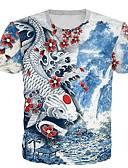 billige T-skjorter og singleter til herrer-Rund hals EU / USA størrelse T-skjorte Herre - 3D Blå / Kortermet