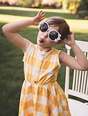 Χαμηλού Κόστους Φορέματα για κορίτσια-Παιδιά Νήπιο Κοριτσίστικα Γλυκός Καρό Στάμπα Αμάνικο Ως το Γόνατο Φόρεμα / Βαμβάκι