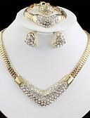 Χαμηλού Κόστους Βραδινά Φορέματα-Γυναικεία Χρυσό Νυφικό κόσμημα σετ Σύνδεσμος / Αλυσίδα Καρδία Βίντατζ Στρας Σκουλαρίκια Κοσμήματα Χρυσό / Χρυσή 2 / Χρυσή 3 Για Γάμου Αρραβώνας Δώρο 1set