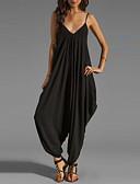 ราคาถูก จั๊มสูทและเสื้อคลุมสำหรับผู้หญิง-สำหรับผู้หญิง ขนาดพิเศษ Street Chic / Sophisticated สาย สีดำ ไวน์ สีม่วง ขากว้าง ที่มีขนาดใหญ่ ชุด Jumpsuits Onesie, สีพื้น ลายต่อ S M L