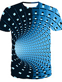 cheap Men's Tees & Tank Tops-Men's Daily Wear Bar Street chic / Punk & Gothic T-shirt - Striped / Color Block Print Round Neck Blue / Short Sleeve
