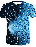 billige T-skjorter og singleter til herrer-Rund hals T-skjorte Herre - Stripet / Fargeblokk, Trykt mønster Gatemote / Punk & Gotisk Blå / Kortermet