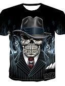 baratos Camisetas & Regatas Masculinas-Homens Camiseta Punk & Góticas Estampado, 3D / Caveiras Algodão Decote Redondo Preto / Manga Curta