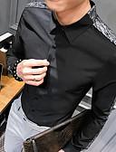 billige Skjorter-Skjorte Herre - Ensfarget Grunnleggende Svart