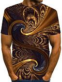 billige T-skjorter og singleter til herrer-Rund hals EU / USA størrelse T-skjorte Herre - Fargeblokk / 3D / Grafisk, Trykt mønster Gatemote / overdrevet Klubb Brun / Kortermet