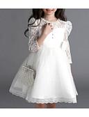 זול שמלות לילדות פרחים-נסיכה באורך  הברך שמלה לנערת הפרחים  - כותנה / פוליאסטר / תחרה שרוול 4\3 עם תכשיטים עם חרוזים / אפליקציות / פפיון(ים) על ידי LAN TING Express