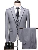 povoljno Odijela-Sive boje Jednobojni Standardni kroj Poliester Odijelo - Stepenasti Droit 1 bouton