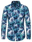 ราคาถูก ชุดลำลองชาย-สำหรับผู้ชาย เชิร์ต โบโฮ / สง่างาม ลายพิมพ์ สีพื้น / ลายสก็อต สีน้ำเงิน