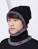 olcso Férfi kalapok, sapkák-Yiwu pby_086q férfi kalap vállpántos kétrészes készlet fülvédő kötött gyapjú sapka plusz bársony kapucnis sapka