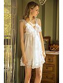 ราคาถูก สไตลตุ๊กตาเบบี้-สำหรับผู้หญิง ลูกไม้ / ตารางไขว้ ชุด เสื้อนอน สีพื้น / ลายดอกไม้ / ลายพิมพ์ สีดำ ขาว สีม่วง M L XL