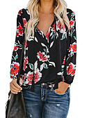 cheap Women's Blouses-Women's Daily Wear Basic Shirt - Floral Print V Neck White