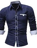 baratos Camisas Masculinas-Homens Camisa Social Moda de Rua Sólido Preto