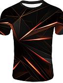 ราคาถูก เสื้อยืดและเสื้อกล้ามผู้ชาย-สำหรับผู้ชาย ขนาดของยุโรป / อเมริกา เสื้อเชิร์ต พื้นฐาน คอกลม 3D ส้ม / แขนสั้น