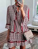 Χαμηλού Κόστους Print Dresses-Γυναικεία Βασικό Τουνίκ Φόρεμα - Πουά, Patchwork Πάνω από το Γόνατο