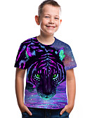 billige T-skjorter til damer-Barn Baby Gutt Aktiv Grunnleggende Tiger Geometrisk Trykt mønster 3D Trykt mønster Kortermet T-skjorte Lilla / Dyr