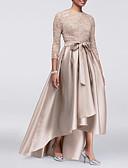 billige Cocktailkjoler-A-linje Besmykket Asymmetrisk Blonder / Sateng 3/4 ermer Sexy / Plusstørrelse Kjole til brudens mor med Appliqué / Belte / bånd 2020