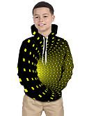 baratos Moletons Para Meninos-Infantil Bébé Para Meninos Activo Básico Cubos Mágicos Geométrica Galáxia 3D Estampado Manga Longa Moleton & Blusa de Frio Preto