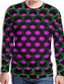 billige Hettegensere og gensere til herrer-T-skjorte Herre - Fargeblokk / 3D / Grafisk, Trykt mønster Gatemote / Punk & Gotisk Fuksia