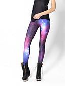 olcso Leggingek-Női Hétköznapi Alap Legging - Galaxis, Nyomtatott Magas derék Bíbor S M L