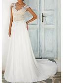 Χαμηλού Κόστους Φορέματα κοκτέιλ-Γραμμή Α Με Κόσμημα Ουρά Δαντέλα / Τούλι Κανονικοί ιμάντες Με Όμορφη Πλάτη Φορέματα γάμου φτιαγμένα στο μέτρο με Κουμπί / Που καλύπτει 2020