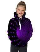 baratos Moletons Para Meninas-Infantil Bébé Para Meninas Activo Básico Cubos Mágicos Geométrica Galáxia Estampado Estampado Manga Longa Moleton & Blusa de Frio Preto