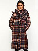 olcso Női hosszú kabátok és parkák-Női Kockás Hosszú Kosaras, Poliészter Rubin / Barna / Lóhere M / L / XL