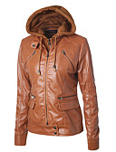 billige Kvinner Leather & Faux Leather Jackets-Dame Daglig Vår & Vinter Normal Jakke, Ensfarget Med hette Langermet PU Svart / Beige / Vin