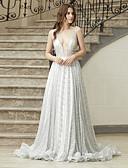 Χαμηλού Κόστους Φορέματα Ξεχωριστών Γεγονότων-Γραμμή Α Λαιμόκοψη V Ουρά μέτριου μήκους Με πούλιες Λεπτές Τιράντες Open Back / Sexy Φορέματα γάμου φτιαγμένα στο μέτρο με 2020