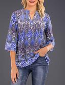 ราคาถูก เสื้อยืดสำหรับสุภาพสตรี-สำหรับผู้หญิง เชิร์ต ลายพิมพ์ คอวี รูปเรขาคณิต สีน้ำเงินกรมท่า