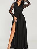 baratos Vestidos de Mulher-Mulheres Moda de Rua Sofisticado balanço Vestido - Renda Patchwork, Sólido Longo