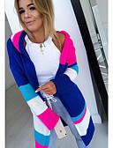 baratos Suéteres de Mulher-Mulheres Estampa Colorida Manga Longa Carregam Camisola Jumper, Com Capuz Azul Claro / Azul / Cinzento S / M / L
