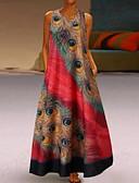 Χαμηλού Κόστους Sweater Dresses-Γυναικεία Μεγάλα Μεγέθη Βασικό Σε γραμμή Α Φόρεμα - Γεωμετρικό, Στάμπα Μακρύ Λαιμόκοψη V