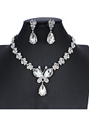 cheap Women's Blouses-Women's White Bridal Jewelry Sets Link / Chain Butterfly Luxury Unique Design Elegant Earrings Jewelry Silver For Wedding Party Engagement Holiday Festival 1 set