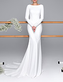 billige Bryllupskjoler-Havfrue Bateau Neck Svøpeslep Sateng Langermet mordern Åpen rygg Made-To-Measure Brudekjoler med Knapper 2020