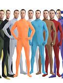 billige Zentai-Zentai Drakter Huddrag Ninja Voksne Spandex Elastan Cosplay-kostymer Kjønn Herre Dame Svart / Grønn / Hvit Ensfarget Halloween / Høy Elastisitet