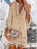 זול חצאיות לנשים-צווארון V מעל הברך פרנזים, אחיד - שמלה ישרה בגדי ריקוד נשים